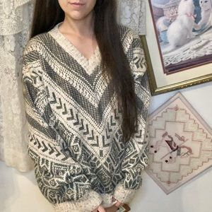 Vintage Ornate Grandpa Sweater Pullover Wool Blend